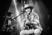 Image has been converted to black & white.) Singer & songwriter Dustin Lynch performs at 3rd & Lindsley on September 28, 2020 in Nashville, Tennessee.