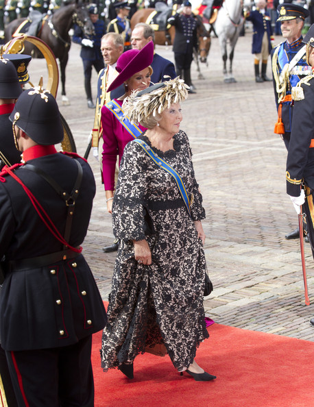 Queen Beatrix of the Netherlands and Princess Maxima of The Netherlands attend the Budget Day announcement on September 18, 2012 in The Hague, Netherlands.