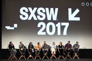 "(L-R) Comedian Doug Benson, Executive Producer Michael Aguilar, actors Clark Duke, Michael Angarano, Andrew Santino, Ari Graynor, Melissa Leo, Erik Griffin, and Al Madrigal speak onstage during the ""I'm Dying Up Here"" premiere 2017 SXSW Conference and Festivals on March 15, 2017 in Austin, Texas."