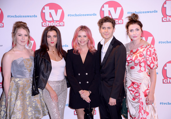 The TV Choice Awards 2019 - Red Carpet Arrivals [red,premiere,event,fashion,skin,carpet,red carpet,flooring,dress,fashion design,red carpet arrivals,beccy henderson,saoirse-monica jackson,dylan llewellyn,jamie-lee odonnell,kathy kiera clarke,tv choice awards,the tv choice awards,hilton park lane,england]