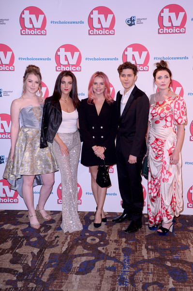The TV Choice Awards 2019 - Red Carpet Arrivals [fashion,event,red carpet,fashion design,premiere,carpet,flooring,dress,style,red carpet arrivals,beccy henderson,saoirse-monica jackson,dylan llewellyn,jamie-lee odonnell,kathy kiera clarke,tv choice awards,the tv choice awards,hilton park lane,england]
