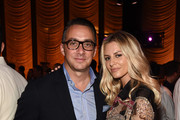 President of E! Entertainment Adam Stotsky and Morgan Stewart attend as E!, ELLE & IMG celebrate the Kick-Off To NYFW: The Shows at The Pool on September 5, 2018 in New York City.