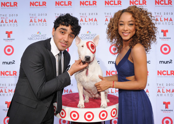 Target Sponsors The 2013 NCLR ALMA Awards [bullseye,canidae,dog,dog breed,junior showmanship,conformation show,companion dog,kennel club,carnivore,sporting group,actors,chaley rose,bonilla,nclr alma awards,pasadena civic auditorium,california,target,bull terrier mascot]
