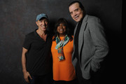 Film producer Jon Kilik, Chaz Ebert and actor Chazz Palminteri pose backstage at the 'A BRONX TALE' Screening at Virginia Theatre during EBERTFEST 2015 on April 17, 2015 in Champaign, Illinois.