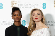 Letitia Wright (L) and Natalie Dormer attend The EE British Academy Film Award, BAFTA, nominations announcement at BAFTA on January 9, 2018 in London, England.