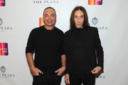 Master colorist Joel Warren and master stylist Edward Tricomi attend EVINE Live launches new digital retail brand during live broadcast from The Plaza on February 14, 2015 in New York City.