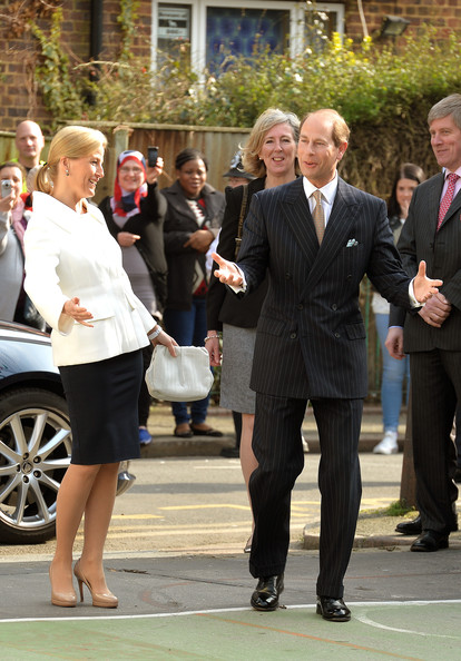 Prince Edward, Earl of Wessex and the Sophie, Countess of Wessex react to applause as they arrive for a visit on the Earl's 50th Birthday to Robert Browning Primary School in Walworth to see the work of youth charity Kidscape, recipients of grants from the Wessex Youth Trust, on March 10, 2014 in London, United Kingdom.