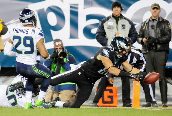 Seattle Seahawks v Philadelphia Eagles [player,sports,sports gear,team sport,canadian football,arena football,sprint football,gridiron football,tournament,super bowl,zach ertz,earl thomas,lincoln financial field,philadelphia,philadelphia eagles,seattle seahawks,wright 50,k.j.,touchdown,game]