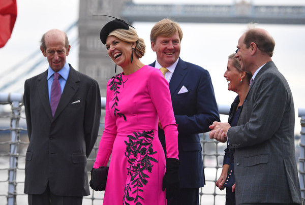 State Visit Of The King And Queen Of The Netherlands - Day Two [pink,event,magenta,white-collar worker,suit,tourism,gesture,businessperson,formal wear,ceremony,maxima,willem-alexander,queen,edward,beatrix,claus,l-r,netherlands,the king and queen of the netherlands,state visit]