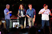 "Producer Matt Tolmach, Emma Stone, Andrew Garfield, and Director Marc Webb of ""The Amazing Spider-Man 2"" attends the Earth Hour Kick-Off with Spider-Man, The First Super Hero Ambassador for Earth Hour, the global movement organized By WWF (World Wide Fund For Nature) on March 29, 2014 in Singapore. #spiderman"