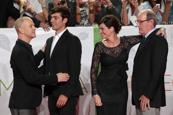 (L to R) Director Ryan Murphy and actors Luca Argentero, Julia Roberts and Richard Jenkins attend