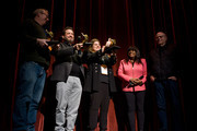 Ted Hope, Robert Pulcini, Shari Springer, Chaz Ebert, and Nate Kohn attend on Day 3 of the Roger Ebert Film Festival at Virginia Theatre on April 20, 2018 in Champaign, Illinois.