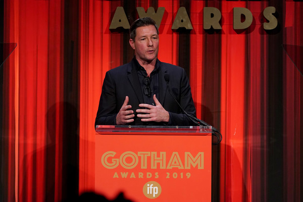 IFP's 29th Annual Gotham Independent Film Awards - Show [speech,public speaking,red,spokesperson,curtain,orator,theater curtain,comedy club,event,talent show,ed burns,new york city,cipriani wall street,ifp,29th annual gotham independent film awards - show,29th annual gotham independent film awards]