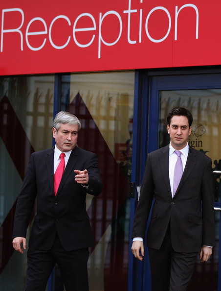 Ed Miliband and Scottish Labour Leader Iain Gray Visit IT Support Company Atos Origin