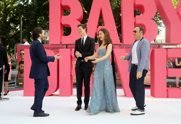 European Premiere of Sony Pictures 'Baby Driver' [baby driver,red,pink,fashion,event,suit,dress,formal wear,ceremony,lily james,ansel elgort,edgar wright,kevin spacey,england,london,sony pictures,european premiere]