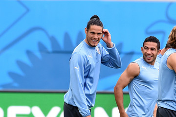 Edinson Cavani Uruguay Training Session