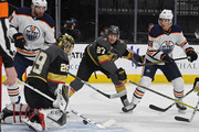 Marc-Andre Fleury #29 of the Vegas Golden Knights blocks a shot by Ryan Strome #18 of the Edmonton Oilers as Shea Theodore #27 of the Golden Knights defends in the first period of their game at T-Mobile Arena on February 15, 2018 in Las Vegas, Nevada. The Golden Knights won 4-1.