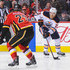 Leon Draisaitl Photos - Dougie Hamilton #27 of the Calgary Flames defends against Leon Draisaitl #29 of the Edmonton Oilers during an NHL game at Scotiabank Saddledome on March 13, 2018 in Calgary, Alberta, Canada. - Edmonton Oilers vs. Calgary Flames