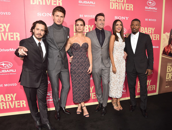 Premiere of Sony Pictures' 'Baby Driver' - Red Carpet [baby driver,premiere,event,fashion,carpet,dress,red carpet,flooring,suit,fashion design,award,red carpet,lily james,edgar wright,actors,eiza gonzalez,jon hamm,sony pictures,premiere,premiere]