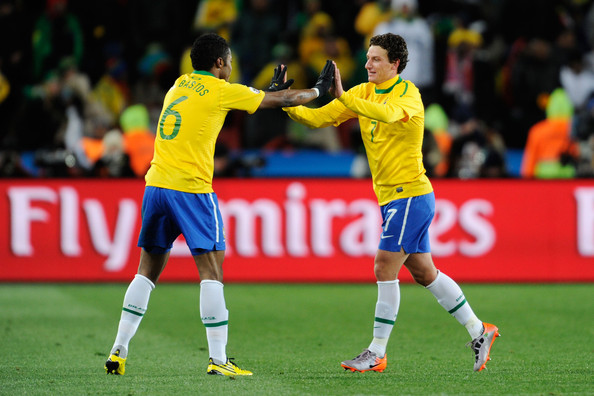 Michel Bastos and Elano - Brazil v North Korea: Group G - 2010 FIFA World Cup