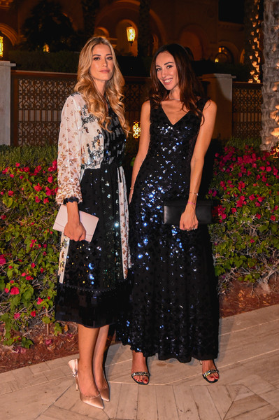 Tory Burch Dinner and After Party [picture,clothing,dress,fashion,lady,event,formal wear,fun,little black dress,ceremony,cocktail dress,elena santarelli,michela bertello,r,dubai,tory burch dinner,l,tory burch celebrates,party,event]