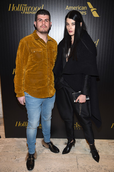 The Hollywood Reporter's 5th Annual 35 Most Powerful People in New York Media - Arrivals [the hollywood reporter,fashion,outerwear,yellow,footwear,event,fashion design,premiere,shoe,style,performance,people,media - arrivals,crystal renn,eli mizrahi,new york media,new york,hollywood reporter]