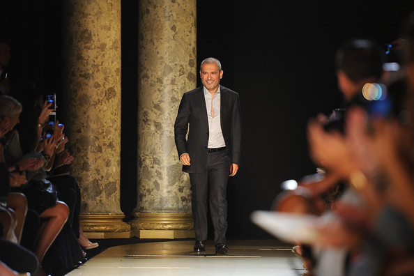 Designer Elie Saab acknowledges the applause of the audience after the Elie Saab Haute-Couture show as part of Paris Fashion Week Fall / Winter 2012/13 at Pavillon Cambon Capucines on July 4, 2012 in Paris, France.