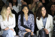 (L-R) Delilah Belle Hamlin, Chanel Iman and Katie Holmes attend Elie Tahari Spring / Summer 2020 Runway Show at Gallery II at Spring Studios on September 05, 2019 in New York City.
