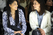 Chanel Iman and Katie Holmes attend the Ellie Tahari front row during New York Fashion Week: The Showsat Gallery II at Spring Studios on September 05, 2019 in New York City.