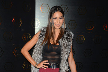 Elisabetta Gregoraci Philipp Plein Women's Fall Winter 14/15 Fashion Show - Arrival - Milan Fashion Week Womenswear Autumn/Winter 2014