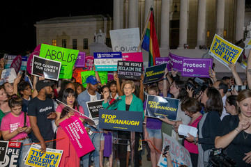 Elizabeth Warren Activists Rally At Supreme Court As Trump Announces Nominee For High Court
