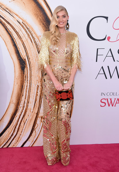 2016 CFDA Fashion Awards - Arrivals [fashion model,flooring,carpet,hairstyle,fashion,shoulder,red carpet,gown,long hair,haute couture,arrivals,elsa hosk,hammerstein ballroom,new york city,cfda fashion awards]
