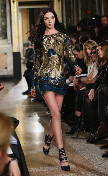 Model Mariacarla Boscono walks the runway during the Emilio Pucci  Milan Fashion Week Autumn/Winter 2010 show on February 27, 2010 in  Milan, Italy.