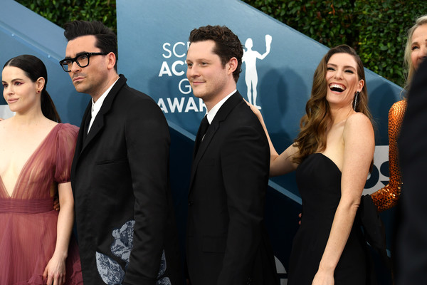 26th Annual Screen Actors Guild Awards - Red Carpet [red carpet,event,formal wear,suit,fashion,dress,premiere,fun,smile,tuxedo,photography,sarah levy,daniel levy,noah reid,emily hampshire,screen actors guild awards,l-r,los angeles,california,screen actors\u00e2 guild awards,daniel levy,sarah levy,emily hampshire,noah reid,photograph,la femme nikita,celebrity,image,photography]
