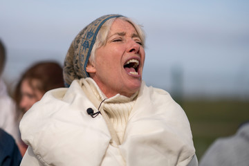 Emma Thompson Anti-Fracking Demonstrators March In Blackpool