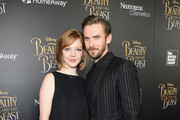 """Susie Hariet (L) and actor Dan Stevens arrive at the New York special screening of Disney's live-action adaptation """"Beauty and the Beast"""" at Alice Tully Hall on March 13, 2017 in New York City."""