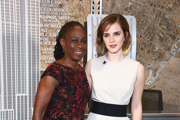 Emma Watson Emma Watson and Chirlane McCray Light The Empire State Building in HeForShe Magenta For International Women's Day