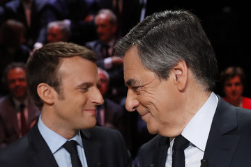 Emmanuel Macron French Presidential Candidates Face Off in First TV Debate