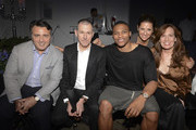 Executive Vice President and General Merchandise Manager of Men's Wear at Barneys Tom Kalenderian, CEO of Barneys New York Mark Lee, basketball player Russell Westbrook, VP of Public Relations at Gucci Charlotte Blechman and COO of Barneys New York Daniella Vitale attend the En Noir fashion show during Mercedes-Benz Fashion Week Spring 2015 at Pier 59 on September 11, 2014 in New York City.