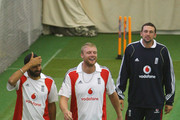 Monty Panesar, Andrew Flintoff and Steve Harmison of England share a joke during an England nets session at Lords on July 15, 2009 in London, England.