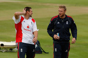 England players Steve Harmison (L) and Andrew Flintoff share a joke during England nets at Edgbaston on July 28, 2009 in Birmingham, England.