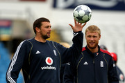 Steve Harmison and Andrew Flintoff in action during the England nets session at the Headingley Carnegie Stadium ahead of the 4th Ashes Test on August 5, 2009 in Leeds, England.