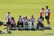 (L-R) Ryan Sidebottom, Stuart Broad, Ian Bell, Andrew Flintoff, Alastair Cook, and Steve Harmison look on during the England nets session at The Brit Oval on August 19, 2009 in London, England.