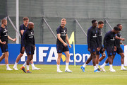 Eric Dier, John Stones, Fabian Delph, Jordan Henderson, Danny Welbeck, Trent Alexander-Arnold, Danny Rose and Raheem Sterling of England during the England Media Access on June 17, 2018 in Saint Petersburg, Russia.