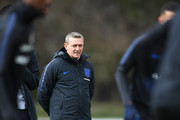 Aidy Boothroyd manager of England U21  looks on during an England U21 training session at St Georges Park on March 22, 2018 in Burton-upon-Trent, England. England are due to face Romania in the Cyrille Regis international on March 24.