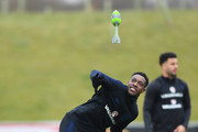 Danny Welbeck takes part in a drill during an England training session on the eve of their international friendly against the Netherlands at St Georges Park on March 22, 2018 in Burton-upon-Trent, England.