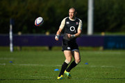 Mike Brown of England receives a pass during a training session at Clifton Rugby Club on September 25, 2018 in Bristol, England.