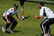 Matt Prior and Kevin Pietersen warm up during the England Nets Session at Lords on May 25, 2010 in London, England.