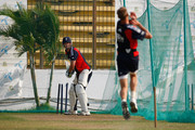 England bowler Stuart Broad bowls to batsman Kevin Pietersen in the nets during England nets at Jahur Ahmed Chowdhury Stadium on March 10, 2010 in Chittagong, Bangladesh.