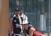 Kevin Pietersen of England has a bat watched by Matt Prior of England during the England nets session at Galle International Cricket Stadium on March 24, 2012 in Galle, Sri Lanka.